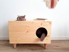 Cat House, Pet Furniture, Cat Bed, Hideaway for your Pet, Modern Pet Cabinet made of spruce wood Vesper Cat Furniture, Dog Furniture, Wooden Cat House, Animal Gato, Hamster, Cat Room, Cat Sleeping, Animal House, Diy Stuffed Animals