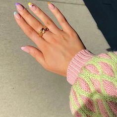 Colorful french April 12 2020 at nails Nail Design Stiletto, Nail Design Glitter, Glitter Nails, Hair And Nails, My Nails, Nike Nails, Nagellack Trends, French Tip Nails, Colored French Nails