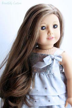 Custom American Girl Doll ~ Amber Brown Eyes, Marie-Grace Wig American Girl Outfits, Custom American Girl Dolls, American Girl Crafts, All American Girl, American Dolls, Long Brown Hair, Ag Doll Clothes, Doll Wigs, Pretty Dolls