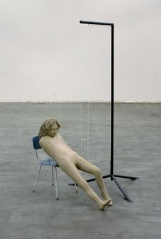 """Mark Manders, """"Figure with Iron Ruler,"""" 2004, painted aluminum, iron, and various materials"""