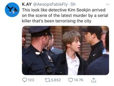 OmG 💯 looking alike handsome detective 😍😍😍😍 – mama Seokjin, Bts Namjoon, Bts Jin, Bts Bangtan Boy, Bts Boys, Taehyung, Hoseok, Bts Memes, Funny Memes