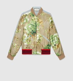 reversible blooms print silk bomber jacket