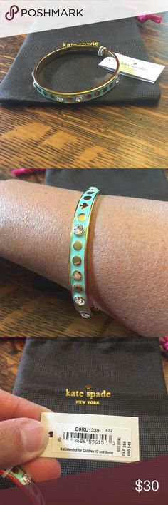 """Sale!! Kate Spade Enamel Bangle Gorgeous Kate bangle with beautiful embellishments. This is a pretty mint color with gold colored accents and """"diamond"""" stones. It is new with tags and comes with the original dust bag!  It retails for $48. Sale price is firm!! kate spade Jewelry Bracelets"""