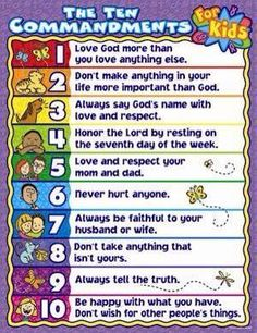 How to teach your children the Ten Commandments in words they'll understand. Funny, I've known & read them over and over again all my life, but reading them in this simple context made me realize that following them is really so easy, easy as loving God and leading a decent, loving, respectful, honest life. I love this!