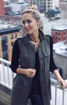 olive green army utility long vest, black v-neck t-shirt, leather leggings, stuart weitzman black lowland over-the-knee boots, leather and gold wrap layered choker, map pendant necklace #fallstyle