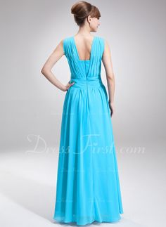 A-Line/Princess Square Neckline Floor-Length Chiffon Mother of the Bride Dress With Ruffle Beading (008005707)
