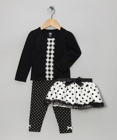 Take a look at this Black & White Polka Dot Skirt Set - Infant, Toddler & Girls by Young Hearts on #zulily today!