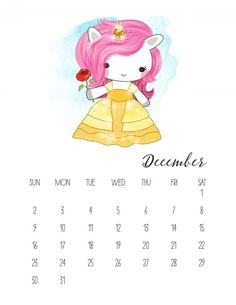 Free Printable 2018 Pop Culture Unicorn Calendar