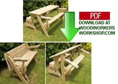 DIY Folding Bench and Picnic Table Combo (PDF) Woodworking Plan. Click on link. http://www.woodworkersworkshop.com/store/index.php?app=ccp0ns=prodshowref=24_001