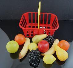 orange, banana, grapes, lemon in a shopping basket. Kidkraft Kitchen, Fake Food, Apples, Gifts For Kids, Pear, Seafood, Lemon, Basket, Banana