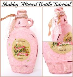 An easy Shabby Altered Bottle Tutorial, from an empty maple syrup bottle!
