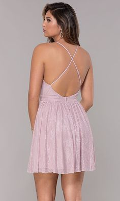 Shop short v-neck metallic homecoming party dresses at PromGirl. Sleeveless semi-formal dresses for parties and metallic party dresses with open backs and adjustable spaghetti straps. Fitted Prom Dresses, Semi Formal Dresses, 15 Dresses, Homecoming Dresses, Cute Dresses, Short Dresses, Fashion Dresses, Glitter Party Dress, Metallic Party Dresses