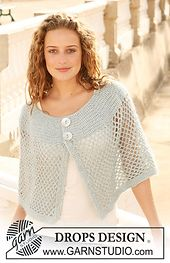 """Ravelry: 111-38 Crochet shoulder wrap in """"Cotton Viscose"""" and """"Kid-Silk"""" pattern by DROPS design"""