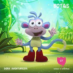 Botas (Boots) - O macaco Botas, que Dora encontrou um dia na floresta, é seu melhor amigo. Ele é simpático e entusiasmado, e normalmente usa suas botas vermelhas, daí o seu nome. Botas é atlético e energético. Ele realiza uma série de acrobacias, flips, cambalhotas e piruetas ao longo do caminho até seu destino. O mais importante, porém, é que Botas ama Dora, tal como ele expressa em inúmeros episódios. #macacobotas #doraaventureira #feltro #educacional #festainfantil #decoracaofesta…