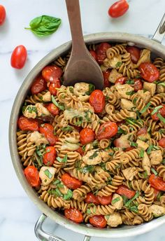 Caprese Chicken Pasta. The perfect 30 minute meal! Our whole family loves this fresh take on chicken mozzarella pasta