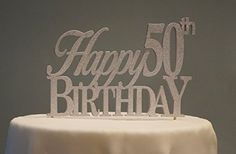 All About Details Silver Happy50thbirthday Cake Topper -- Continue to the product at the image link.  This link participates in Amazon Service LLC Associates Program, a program designed to let participant earn advertising fees by advertising and linking to Amazon.com.