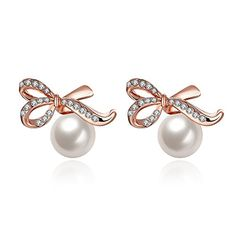 Charm Elegant Rose Gold Plated Romantic Bow Pearl Stud Earrings for Women Valentines Day *** See this great product. Note:It is Affiliate Link to Amazon.