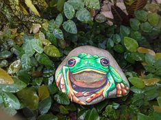 Painted Rock/ FROG/ Stone Paintings / Acrylics / por MeloArtGallery