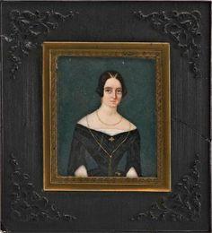 Retrato en miniatura sobre marfil. Dama de frente. Circa 1830 Spanish portrait miniature