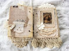Hinge for a flip-up page - Handmade Journal Vintage Junk Journal Mini Album