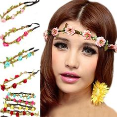 $6.85 for Boho Style Women's Flower Crown Festival Wedding Hair Wreath Garland Floral Headband Hairband (Pack of 8)