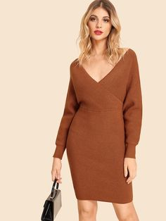 e1b84fa1491 Double V Neck Slim Fitted Batwing Knit Dress -SheIn(Sheinside) Dress P