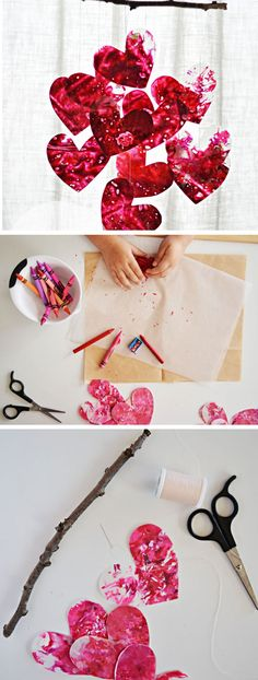 DIY Heart Mobile   Click Pic for 29 DIY Valentines Day Crafts for Kids to Make   Easy Valentine Crafts for Toddlers to Make