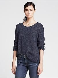 Marled Cutout-Back Pullover