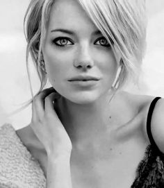 sunflowersandsearchinghearts: Pinterest - Beautiful Emma Stone in Black and White via Searching Hearts