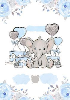 Baby Elephant Drawing, Baby Animal Drawings, Elephant Art, Elephant Nursery, Nursery Art, Cute Drawings, Baby Shower Themes, Baby Boy Shower, Baby Posters