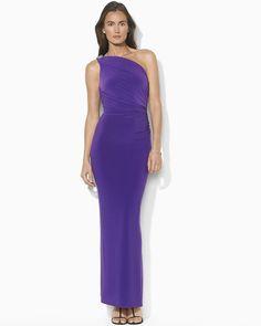 LAUREN RALPH LAUREN One Shoulder Dress with Brooch - New - Sz.8 #LaurenRalphLauren #OneShoulder #PromFestiveEvening https://www.tradesy.com/closet/brandsu/