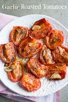 Recipe for roasted tomatoes with garlic. These quick and easy garlic roasted tomatoes recipe is delicious and perfect roast tomato side dish recipe vegan