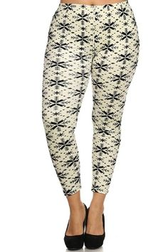 42db49bb26a Elegant4U Women s Printed Beige Ganado Plus Size Leggings at Amazon Women s  Clothing store