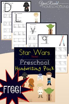 Free Star Wars Preschool Handwriting Pack - By Year Round Homeschooling
