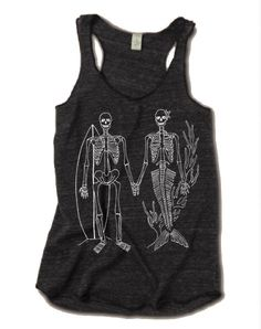 06af753edccd79 Womens SKELETON Mermaid and Surfer Tri Blend Tank Top Beach Surf Skull  American Apparel 4 Colors Sma
