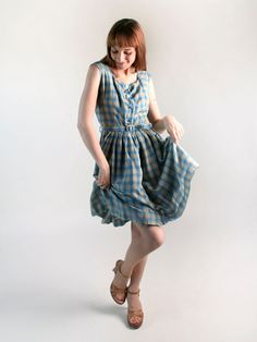 Vintage 1950s Plaid Dress - Sky Blue and Mustard Yellow by zwzzy, $54.00
