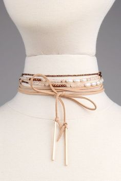 Freshwater Pearl & Crystal Wrapping Choker Set | Beige