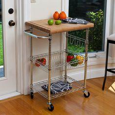 TRINITY EcoStorage™ Kitchen Cart W/ Bamboo Cutting Board