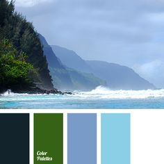 Natural harmonious palette. What could be more beautiful colors of the sea, sky, rocks and lush greenery? This color sets the environment for rest and peac.