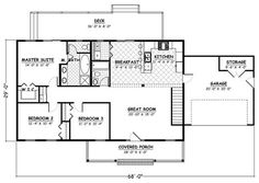 Country , Ranch , Traditional House Plan 40627 with 3 Beds, 2 Baths, 2 Car Garage Alternate Level One Ranch House Plans, Dream House Plans, House Floor Plans, Traditional Style Homes, Traditional House Plans, House Plans And More, Small House Plans, Master Suite, Br House