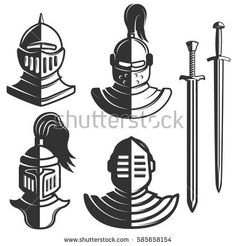 Knight emblems template with swords isolated on white background. Design element for logo, label, emblem, sign, brand mark. Knight Tattoo, Lion Vector, Knight Logo, Band Mom, Tactical Survival, Sales Image, Minimal Tattoo, Dark Knight, My Images