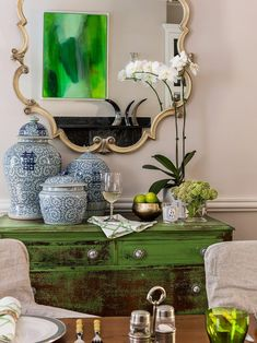 Green Distressed Buffet Cabinet with Blue Ginger Jars - Transitional - Dining Room Dining Room Blue, Dining Nook, Silver Ornate Mirror, Erin Gates, Blue And White Vase, D House, Ginger Jars, Contemporary Decor, Traditional House