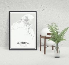 A unique map poster of Al Hoceima on your wall? Al Hoceima is one of the nicest map prints we have and a must have for your interior! Unique Maps, Oversized Mirror, City, Wall, Prints, Photography, Travel, Instagram, Home Decor