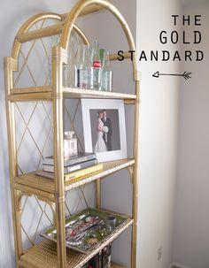 DIY Gold Painted Shelving unit -  www.thingswefancy.com