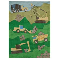 Momeni Lil Mo Whimsy Construction Rug, Green Oth