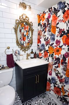 Practical Tips for Designing a Small Bathroom - Living After Midnite Eclectic Boho Colorful Small Black Vanity Bathroom, Black White Bathrooms, White Bathroom Tiles, Black And White Tiles, Gold Bathroom, Bathroom Interior, Bathroom Vintage, Black Grout, Brown Bathroom
