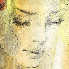 by Anna Razumovskaya Pencil Portrait, Portrait Art, Watercolor Portraits, Watercolor Art, Art Sketches, Art Drawings, Anna Razumovskaya, Art Aquarelle, Russian Art