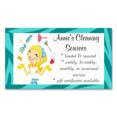Whimsical house cleaning services business cards holiday business cleaning services maid business card blue colourmoves