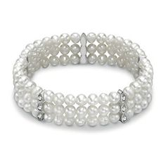 Silver Plated Freshwater Pearl & Crystal Bracelet - Product number 1735411 #HSamuelWinterWeddings