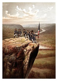 This vintage Civil War print features Union soldiers, posing and holding the American flag, on the summit of Lookout Mountain.